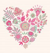 Floral vector heart. Cute romantic background