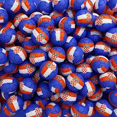 Croatia Football Balls (many). 3D Render Background