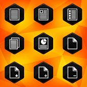 Paper. Hexagonal icons set on abstract orange background