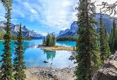 stock photo of spirit  - Spirit Island in Maligne Lake - JPG