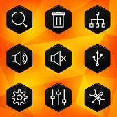 Settings. Hexagonal icons set on abstract orange background