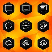 Speech bubble. Hexagonal icons set on abstract orange background