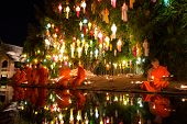 Chiang Mai Thailand-november 7 : Loy Krathong Festival In Chiangmai.tradition Al Monk Lights Floatin