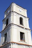 stock photo of evangelism  - The historic clock tower of Evangelic church in the old town of Kedainiai  - JPG