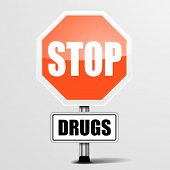 detailed illustration of a red stop drugs sign, eps10 vector