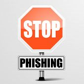 detailed illustration of a red stop Phishing sign, eps10 vector