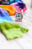 Winter Is Coming Tiny Alarm Clock And Rainbow Scarf