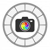 photo camera icon round frame design