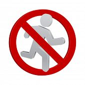 running man forbidden sign 3d icon