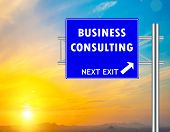 Business Consulting Blue Road Sign