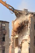 Demolition Of The Old Building In The Town