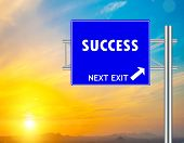 Success Blue Road Sign