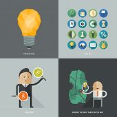 Set of flat design concept images for infographics, business, web, good idea, mapping & icon set