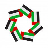 An empty seal graphic using UAE flag icons. A graphic unit in vector