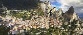 Panoramic view of Castelmezzano - mountain village in Basilicata