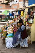 Woman at Snack Stand in Tiquina, Bolivia