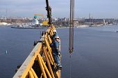 Steeplejacking Works On Installation Working Console Tower Crane.