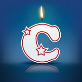 Candle letter C with flame - eps 10 vector illustration
