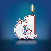 Candle letter d with flame - eps 10 vector illustration