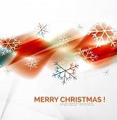 Orange color Christmas blurred waves and snowflakes abstract background