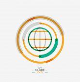 World globe logo stamp, minimal line design concept
