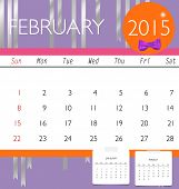 2015 calendar, monthly calendar template for February. Vector illustration.