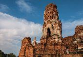 Pagoda And Buddha Status At Wat Yai Chaimongkol