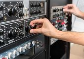 Closeup photo of an audio mixer