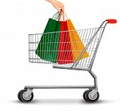 Shopping Cart With Colorful Shopping Bags. Discount Concept. Vector Illustration.