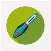 Kitchenware Fruit Knife Flat Icon With Long Shadow