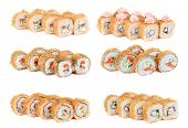 Set of roasted sushi rolls isolated on white