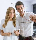 Businessman with female colleague drawing a chart in a glass wall