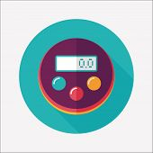 Kitchenware Timer Flat Icon With Long Shadow