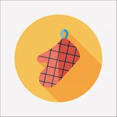 Kitchenware Oven Mitts Flat Icon With Long Shadow
