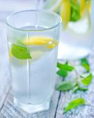 pic of cold drink  - cold drink with mint and fresh lemon - JPG