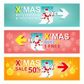 Set of Merry Christmas and New Year Sale banner.