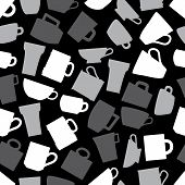 Mugs And Cups Black And Gray Seamless Pattern Eps10