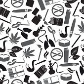 Smoking And Cigarettes Simple Black Icons Pattern Eps10