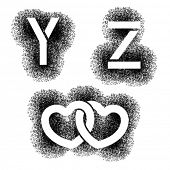 vector stencil angular spray font letters Y Z hearts