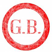 picture of initials  - The initials GB on a red grunge effect stamp - JPG