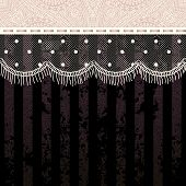 Polka dot fringe lace on black background.