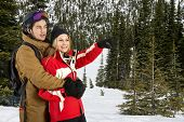 Young couple, enjoying the scenery in a snowy landscape with pine trees during the wintersport