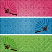 Japanese kimono pattern and fan banners