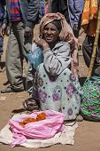 OROMIA, ETHIOPIA-NOVEMBER 5, 2014: An unidentified spice seller sells hot pepper in a market in Ethiopia