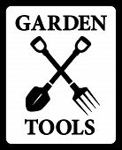 Icon With Garden Tools Silhouette