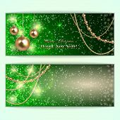Vector abstract green Christmas and New Year Greeting or Invitation