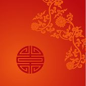 Red Chinese lotus and symbol card