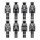 Christmas nutcracker - soldier figurine black icons set