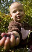 Child sharing berries