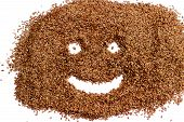 picture of flax seed oil  - Smiling face of flax seeds on a white background - JPG